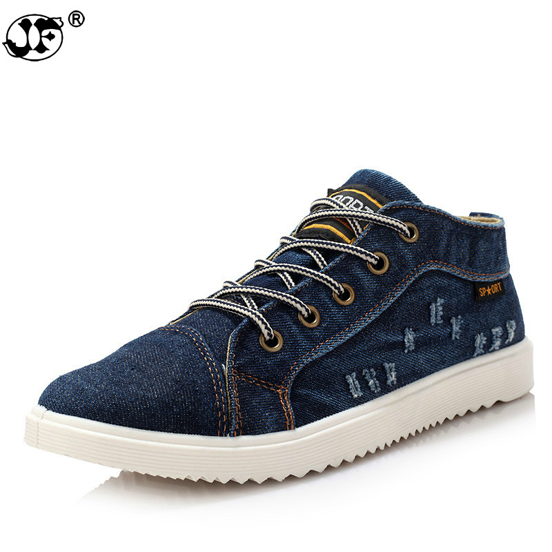 British Style Fashion Vintage Denim Jean Canvas Shoes Men High-top Casual Man Ankle Boots Flat Shoes Usual School Boy Footwear89