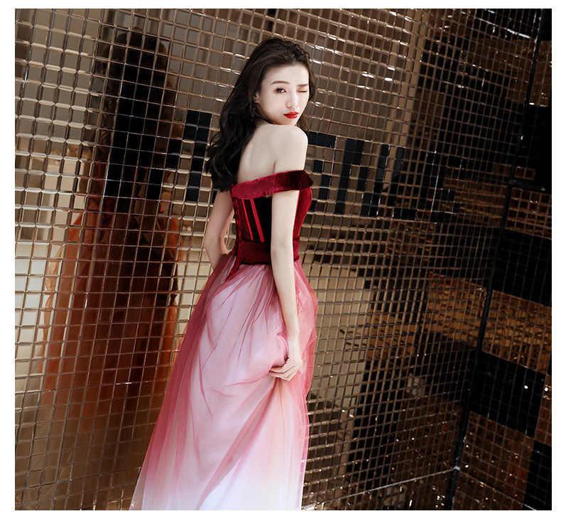 Borgoña de hombro mujeres Cheongsam novia china boda Vestidos de fiesta de noche Sexy ajustado vestido de malla vestido largo Qipao Vestidos
