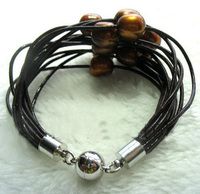 Newest Leather Pearl Jewellery,15Rows Brown Freshwater Pearls Leather Bracelet,Magnet Clasp