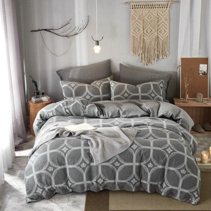 Juego de ropa de cama de algodón Jacquard teñido de hilo doble de los años 60 juego de sábanas tamaño King Queen con funda nórdica sábana plana de algodón con botón
