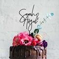Пользовательские парные названия свадебный торт Топпер деревенский Романтический вечерние декор для юбилея персонализированные обрученн...