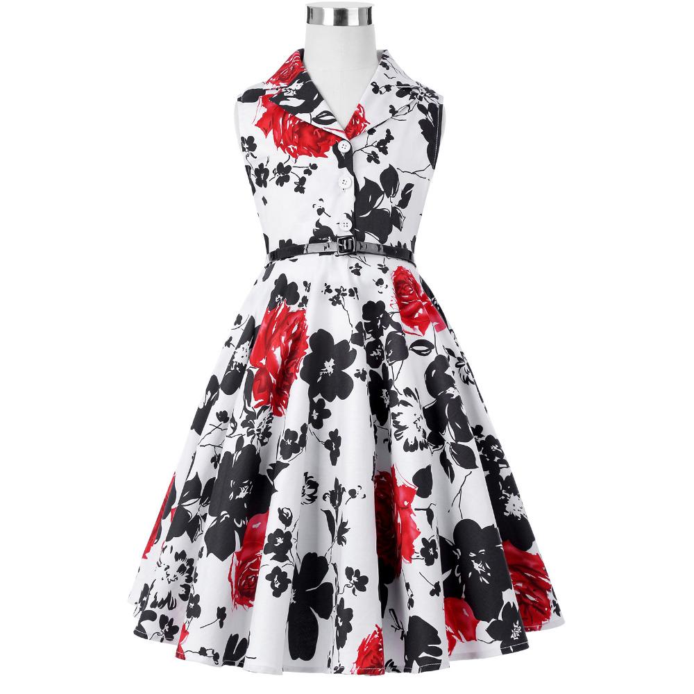 Grace Karin Flower Girl Dresses for Weddings 2017 Sleeveless Polka Dots Printed Vintage Pin Up Style Children's Clothing 26