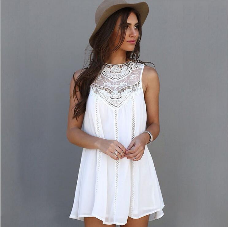 b8e5ac8cdf647 2016 المرأة الصيف فستان عارضة فضفاض مثير الساحرة أكمام الدانتيل خليط س  الرقبة الأبيض البسيطة فستان الشمس