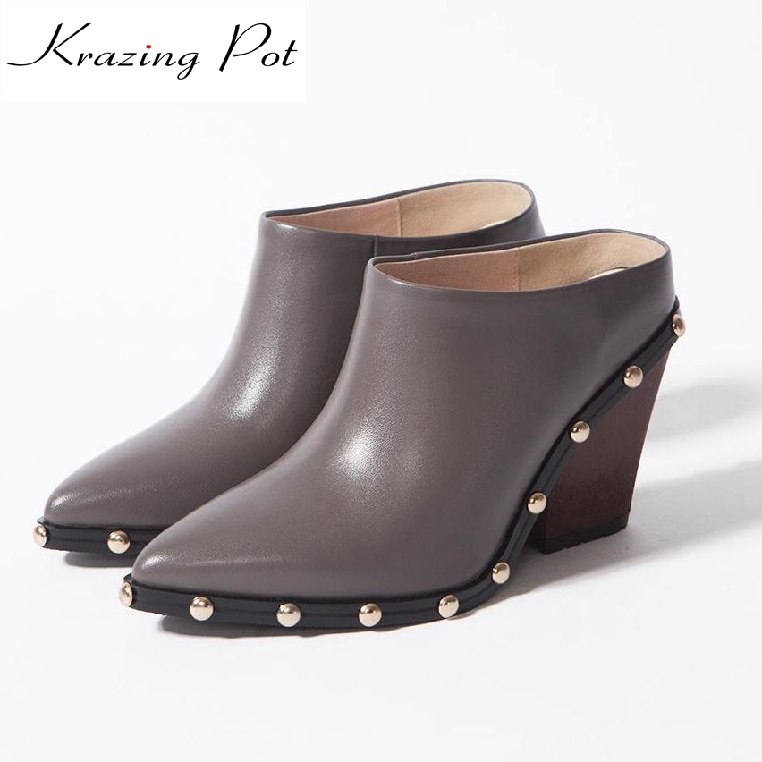 2017 fashion sweet women pumps thick high heel pointed toe solid rivets causal office lady work shoes for model lazy shoes L41 new genuine leather superstar solid thick heel zipper gladiator women pumps pointed toe office lady nude runway casual shoes l88