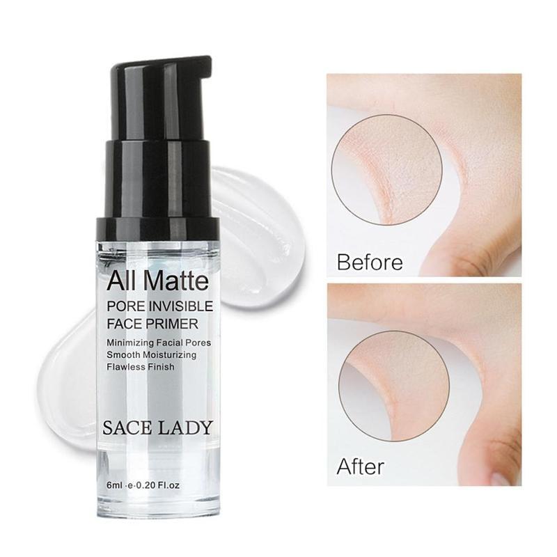 SACE LADY Face Base Primer Cream Liquid Matte Fine Lines kontrola oleju krem do twarzy rozjaśniający podkład podkładowy makijaż kosmetyczny 3