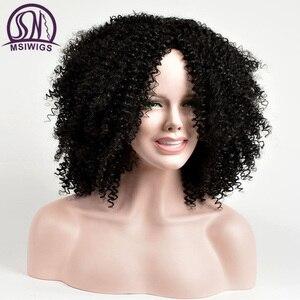 Image 2 - MSIWIGS מסודר מתולתל סינטטי פאות עבור נשים שחור קצר שיער פאה התיכון חלק טבעי האפרו פאות חום סיבים עמידים