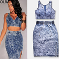 Olrain 2 Piece Set Bodycon Dress  Summer Women Sexy Sleeveless Denim Two Piece Casual Dress Crop Top and Skirt Set