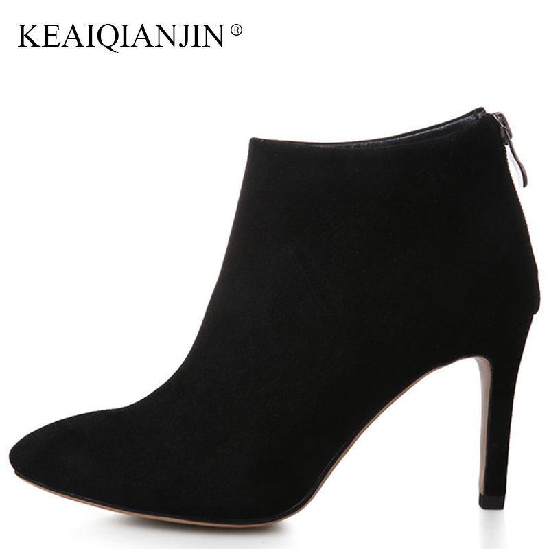 KEAIQIANJIN Women's Genuine Leather Martin Ankle Boots Pointed Toe Chelsea Boots Plus Size 33 Autumn Winter Red High Heele Shoes keaiqianjin woman pointed toe ankle boots black autumn winter genuine leather shoes fashion metal decoration chelsea boots 2017