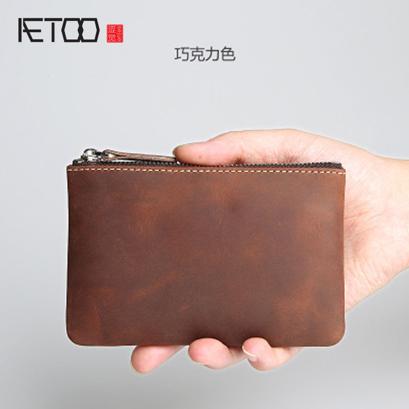 AETOO Handmade retro men and women short wallet leather wallet mini small change purse head layer cow leather youth zipper walle