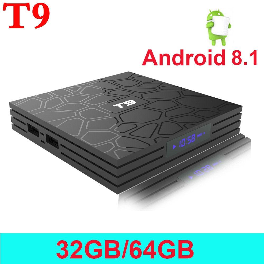 2018 VONTAR Android 8.1 Smart TV Box T9 Media player 4 gb 32 gb/64 gb Rockchip RK3328 1080 p 4 karat Google Player Shop Netflix Youtube