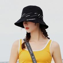 Patchwork Letters Bucket Hat Women Flat Hats Casual K Pop Casquette Hip Hop Cap Black Color Summer Soft Fishing Sun Panama
