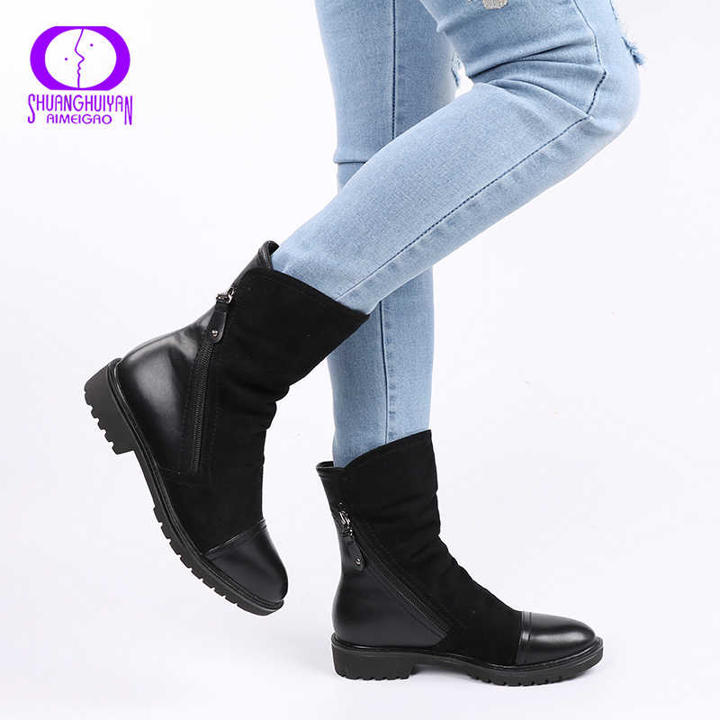 AIMEIGAO High Quality Ankle Boot Suede Soft Leather Women Boots Double Zip Short Plush Spring Autumn Boots Plus Size Shoes