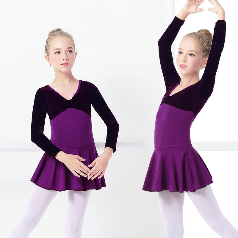 3325dd62ea6c Buy Girls Kids Ballet Velvet Dress Purple Long Sleeve Ballet Dance ...