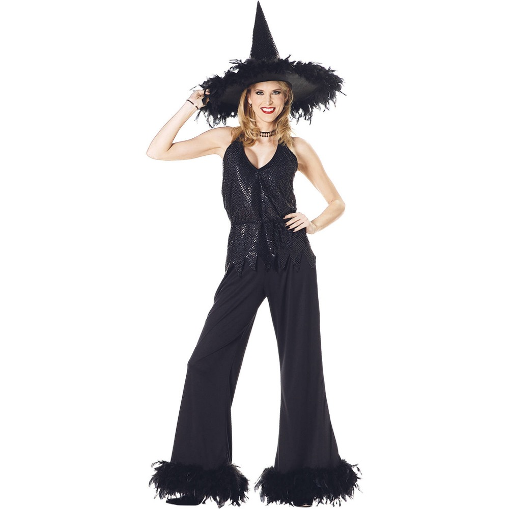 UTMEON Black Fashion Design V Neck 3Ps Witch Suit Halloween Witch Net Yarn Costume For Woman Carnival Party Fairy Tale  Dress
