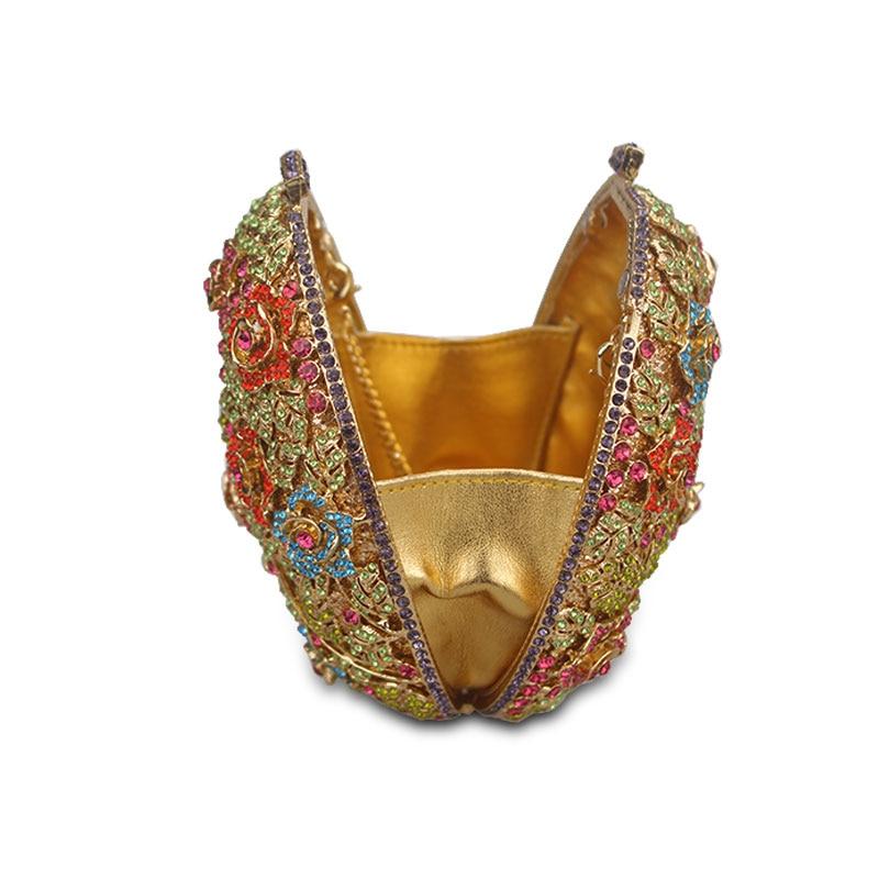 Fête Sacs Pour Fleur Cristal Mariée Luxe Parti Gold De D'embrayage Soirée Femmes Chaliwini Sac Les Dîner Main À Creusée Mariage UqPxwnFSg
