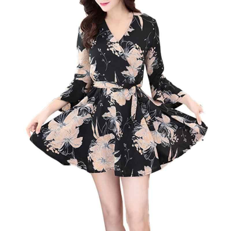 6105e424b2ea9 Spring Summer Korean Version Slim Thin Elegant Vintage A Line V Neck Floral  Printed Long Sleeve