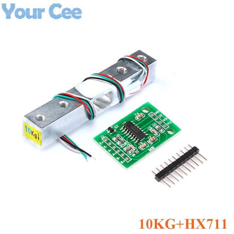 Тензодатчик 1 кг 5 кг 10 кг 20 кг HX711 AD модуль датчик веса электронные весы алюминиевый сплав взвешивания датчик давления - Цвет: 10KG and HX711