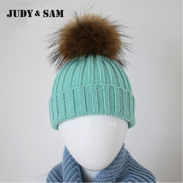 15 Colors New Arrival Caps Fashion Design For 2015 Winter Baby Must Have Popular Beanie Knitted Winter Warm Hat Real Fur Pom Pom