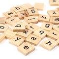 100 unids Azulejos Del Scrabble de Madera Tablero de Letras Minúsculas Del Alfabeto de Juguetes Educativos Del Bebé de Aprendizaje Temprano Regalo de Cerebro Tratador Para Niños