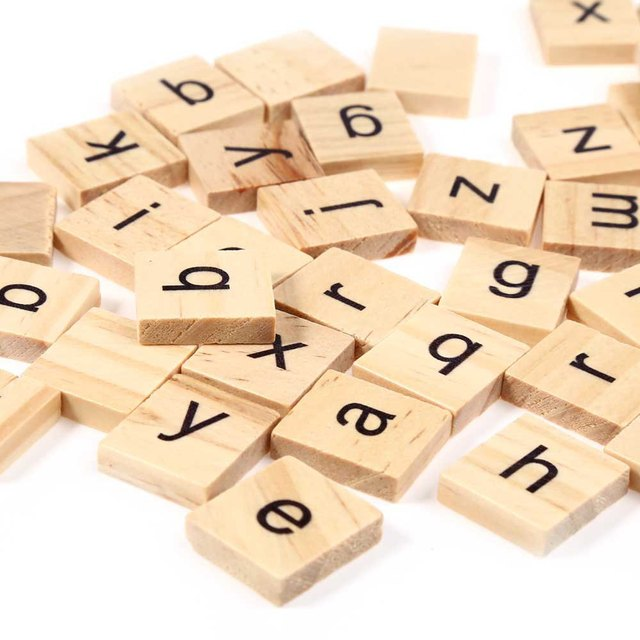 100pcs Wooden Scrabble Tiles Lowercase Letters Board
