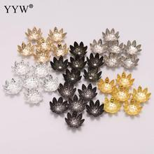 100pcs/Lot 8 10 mm Silver Lotus Flower Metal Loose Spacer Bead Caps Cone End Beads Cap Filigree For DIY Jewelry Finding Making цена 2017