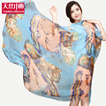 180*110CM New 2016 Fashion Soft Thin Floral Print Silk Scarf Women Luxury brand Beach Scarves Foulard Sjaal Cachecol Feminino
