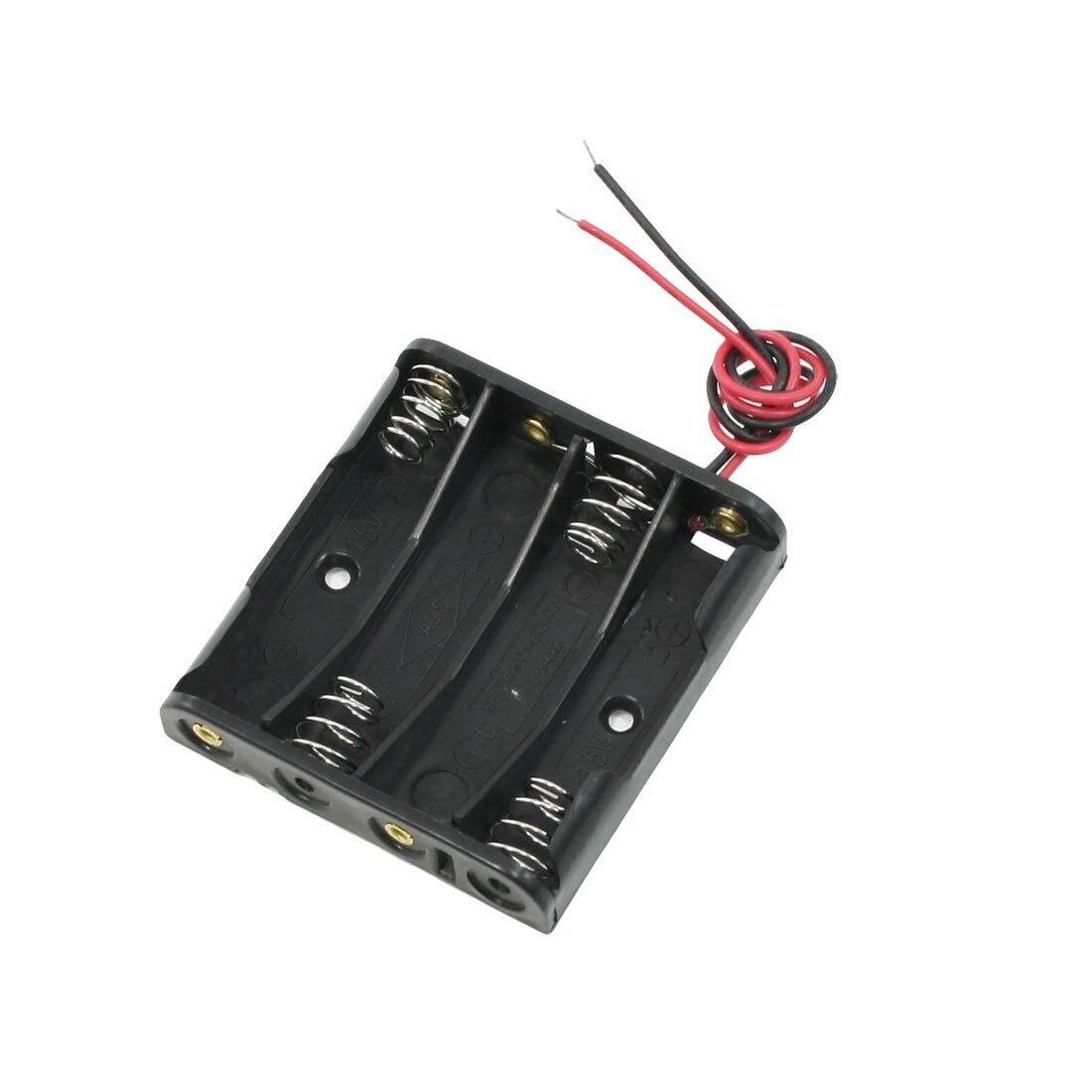 Черный 4 х АА Батареи Держатель Дело Коробка Для Хранения ж Проволочных выводов