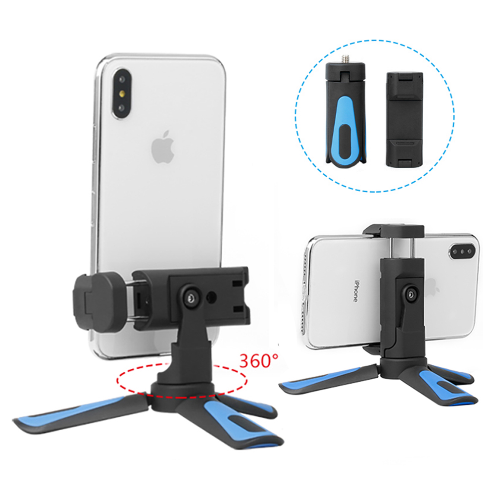 Lightweight Mini Tripod Stand 360 Rotated Phone Holder Mount Flexible Portrait Horizontal Table Tripod for iPhone X XS 7p Huawei