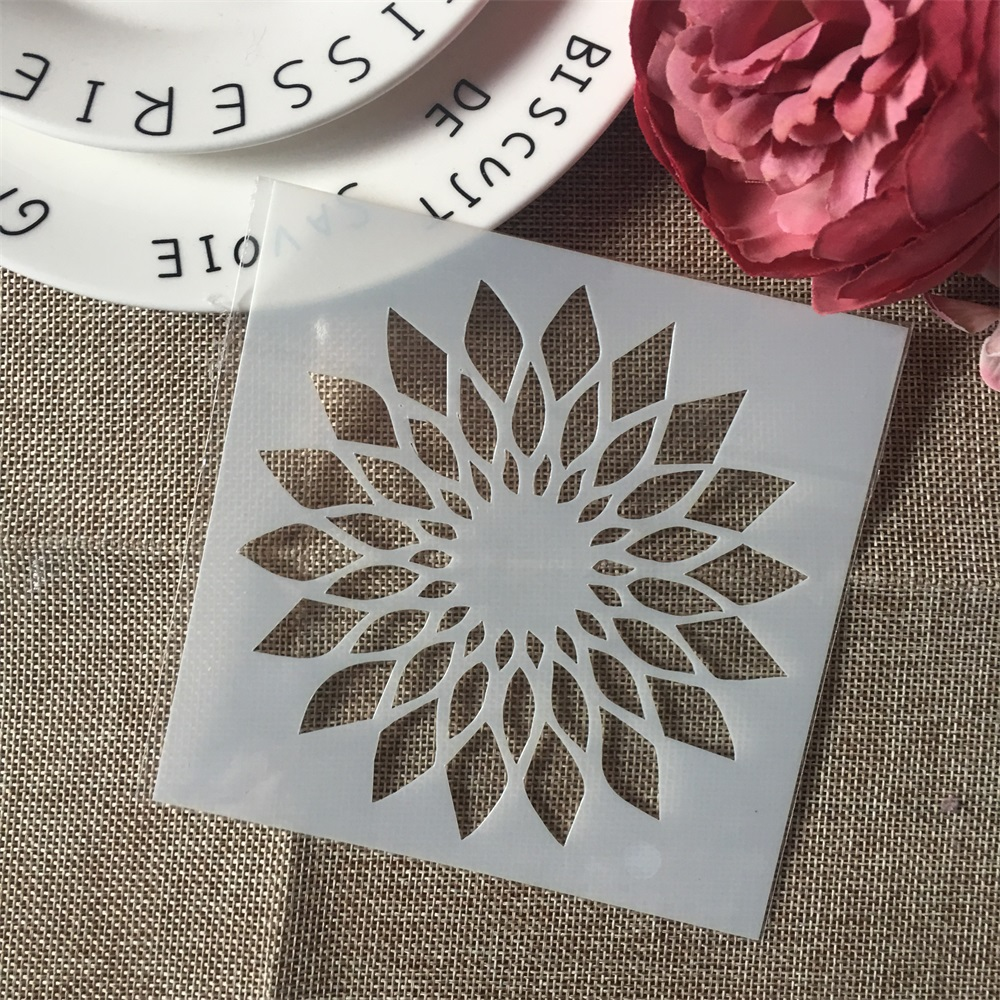 1Pcs 13cm Flower Circle DIY Craft Layering Stencils Wall Painting Scrapbooking Stamping Embossing Album Paper Card Template