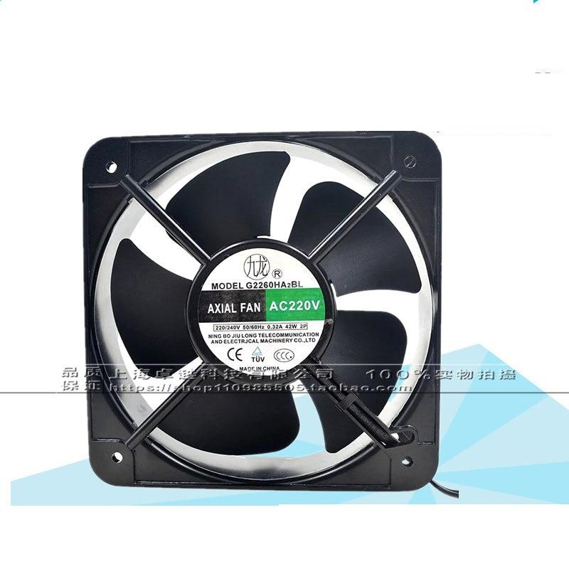 New original G2260HA2BL 220V double ball axial fan 200 * 200 * 60mm cooling fan original delta afb0612vhc 6cm 60mm 6013 6 6 1 3cm 60 60 13mm 12v 0 36a dual ball bearing cooling fan specials