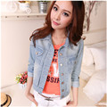2017 autumn female water wash short design denim long-sleeve slim elegant jacket women trendy casual jean coat outerwear