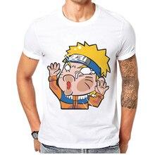 2019 New Funny Naruto Anime Printed Men T Shirt O-Neck Short Sleeve 100 Cotton Mens T-Shirt Cartoon Basic Man Tops Tee Shirts