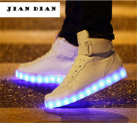 White Shoes Teenager Boys and Girls Light Up Shoes Autumn Winter Fashion High Top Led Sneakers For Man USB Basket Shoes