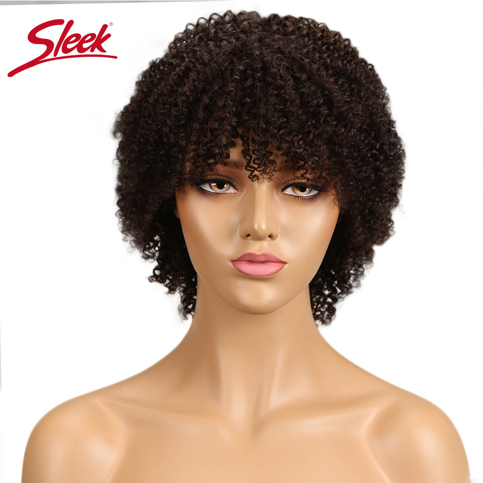 Sleek Brazilian Curly Human Hair Wig Short Afro Kinky Curly Wig Non Lace Front Human Hair Wigs For Black Women Free Shipping