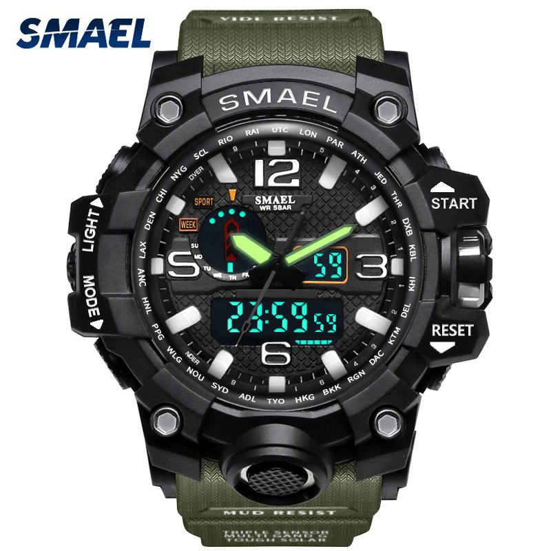SMAEL Sports Watches Men Big Dial Fashion Luxury Top Brand Waterproof Military Men's S Shock Wristwatches Male Relogio Masculino skmei men climbing sports digital wristwatches big dial military watches alarm shock resistant waterproof watch 1025