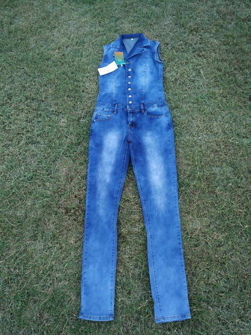 Женский Облегающий комбинезон комбинезоны джинсы брюки длинные брюки дамы сексуальные джинсы длинные сексуальные без рукавов Глубокий v-образный вырез синий тонкий стиль. JN52
