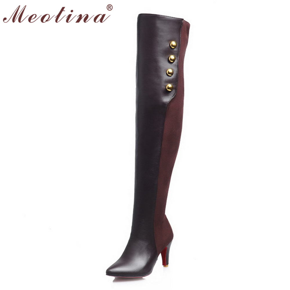 ФОТО Meotina Shoes Women Boots Pointed Toe Heels Over The Knee Boots Female Zip Rivets Thin High Heel Boots Large Size 9 11 44 45