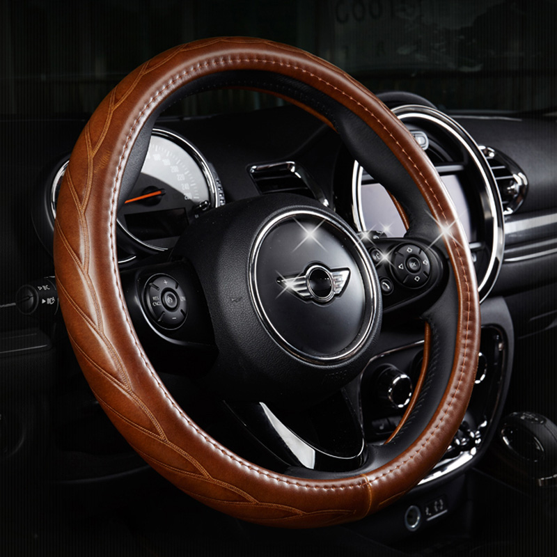 Universal 38CM Cowhide Leather Retro Car Steering Wheel Cover Decor For BWM Mini Cooper One JCW S Clubman Countryman Car Styling senior luxury hand knitted bv style car steering wheel cover for mini cooper
