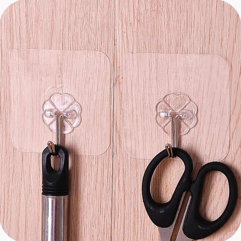 Transparente Adesiva Forte Auto Porta Cabides De Parede Mop Toalha Titular Da Bolsa Gancho Para Pendurar Acessórios Do Banheiro Da Cozinha