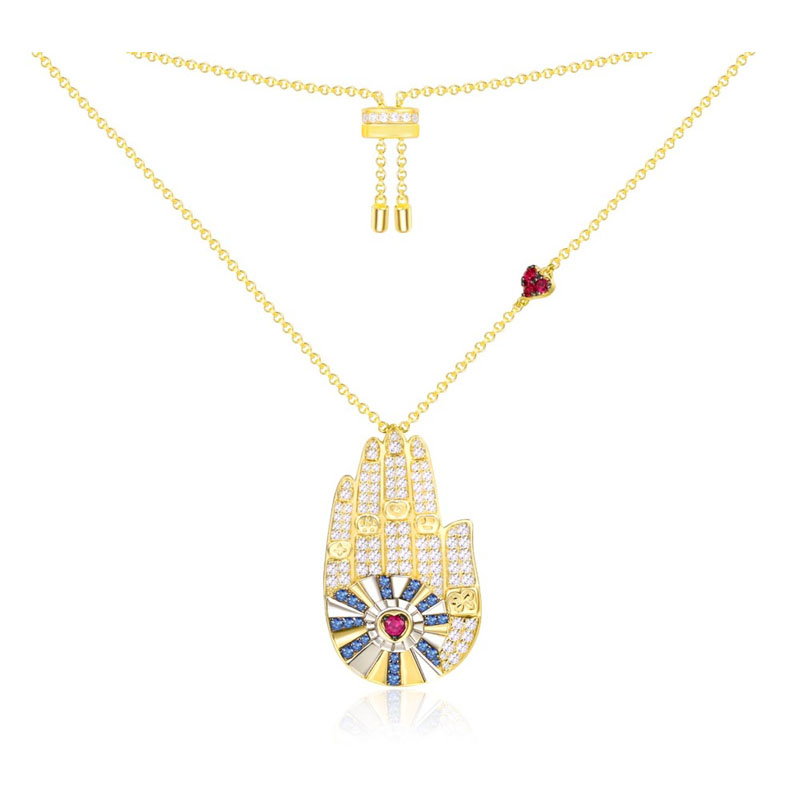 SLJELY Luxury 925 Sterling Silver Yellow Gold Color Lucky Hamsa Hand Palm Pendant Necklace Micro Cubic