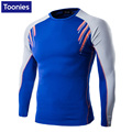 New Men's Shirt Long Sleeved Crossfit Color Patchwork Camiseta Sportswear T Shirt Speed Dry Man Clothes Casual Compression Tops