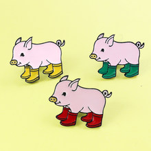 Pig baby Rain Boots Enamel Pins Animal Piggy Brooches for women girl Cute Pig baby and Rain boots Lapel Pin Badge Brooche Spille(China)