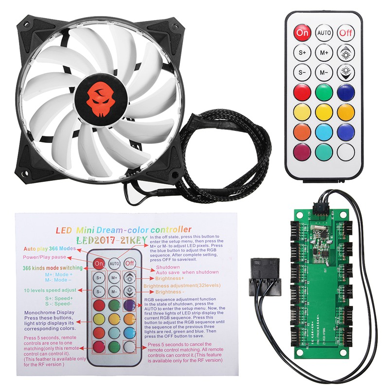 6pcs 12V Computer Case PC Cooling Fan RGB Adjust LED 120mm Quiet + Remote New Computer fan Cooling Cooler Fan For CPU цена
