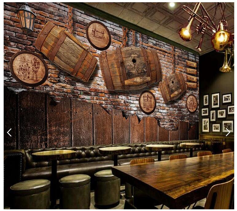Bar Custom Wood And Woods: Custom Wood Wallpaper 3d, Vintage Wine Wood Mural For Bar