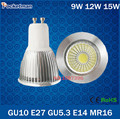 Wholesale Super Bright GU10 GU5.3 E27 E14 MR16 Dimmable Led COB Spotlight light lamp 9W 12W 15W AC 110v 220v 240v