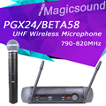 Free Shipping! PGX PGX24 BETA58 UHF Wireless Microphone System Super Cardioid BETA Handheld Microfone For Karaoke Clear Sound!!