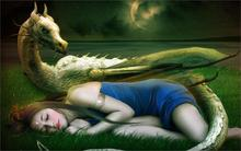 Animation Fantasy art girl asleep dragon 4 Sizes wall picture Canvas Poster Print 50x75cm