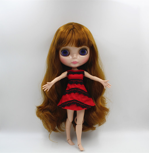 Blygirl Blyth doll Bronze bangs straight hair nude doll 30cm joint body 19 joint DIY doll can change makeup