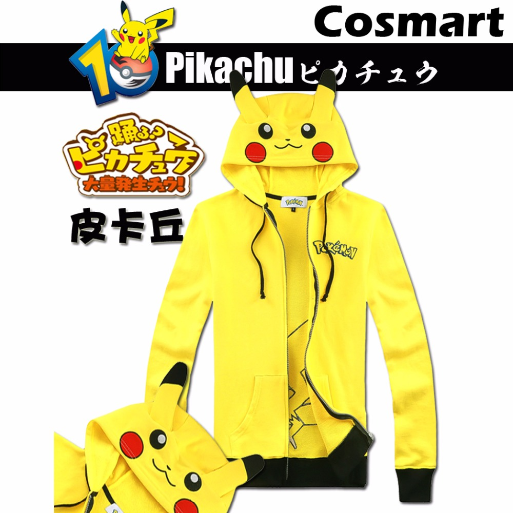 [STOCK]S-3XL Plus size Game Pokemon Go! Pikachu Cute Unisex Zipper Hoodie Cosplay Jacket Top Fleece New 2018 free ship