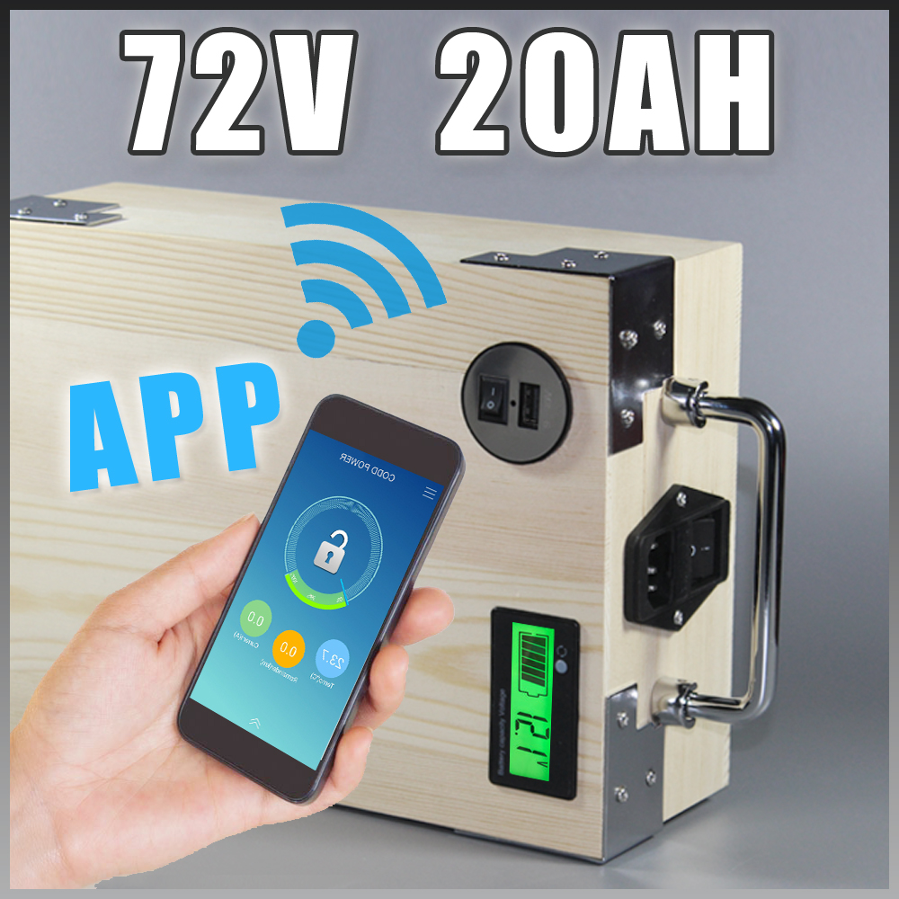 app 72V 20Ah Electric Bicycle Lithium Battery + BMS ,Charger Bluetooth GPS control 5V USB Port Pack scooter electric bike